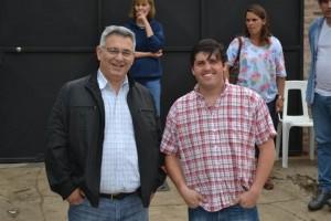 El Intendente Municipal Mauricio Barrientos visitando la fiesta, junto al secretario del HCD Andrés Verde.