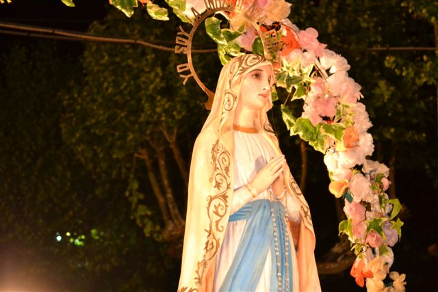 Imagen de la Virgen de la Inmaculada Concepción, en la carroza de la Parroquia local.