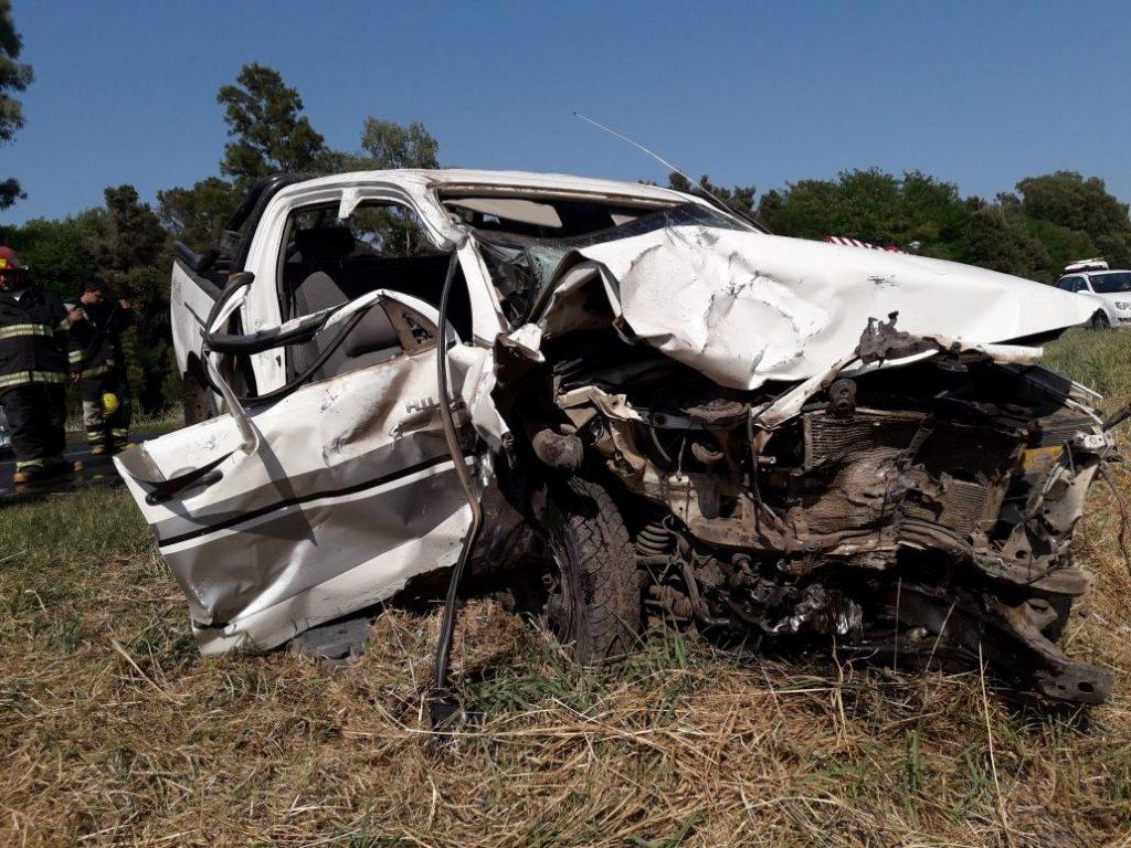 Estado en que quedó la Toyota que viajaba Jonathan herrera junto a su familia.