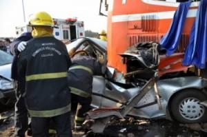 Imagen del accidente ocurrido este sábado a la altura de Luán, sobre Ruta 7.