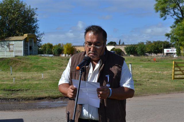 Ex combatiente de Malvinas Marcelo Aguirre haciendo uso de la palabra.