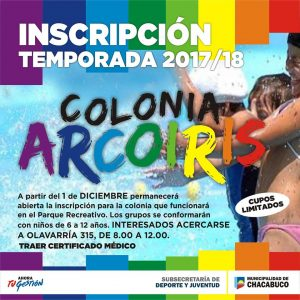 Inscripción Colonia Municipal Arco Iris