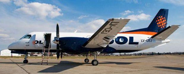 Avión Saab 340 de la línea aérea Sol.