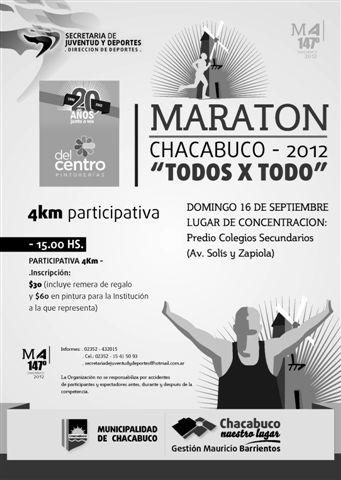 """29/8/12- La Secretaría de Juventud y Deportes, informa que el próximo domingo 16 de septiembre a las 15 hs. se realizará la Maratón Participativa, Chacabuco """"Todos x Todo"""", que fuera suspendida el pasado 5 de agosto."""