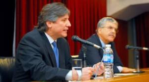 Boudou y De Vido en el anuncio. Foto: telam.com.ar