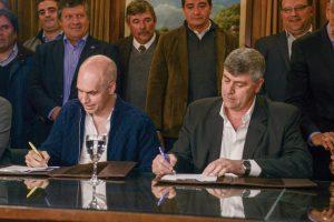 Buryaile y Larreta firmaron convenio para el traslado del Mercado de Hacienda de Liniers a La Matanza