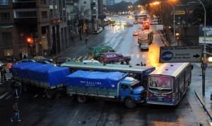 Imagen del choque en el que intervino un camión de Chacabuco.