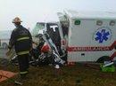 Estado en que quedó la ambulancia. Foto: FM Del Sol.