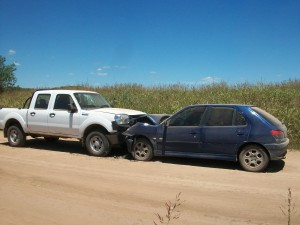 La camioneta accidentada el 2 de enero de 2013.