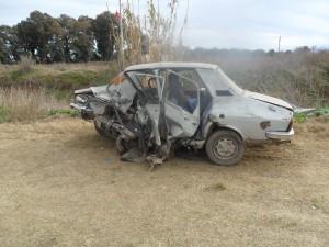 Estado en que quedó el Renault 12 conducido por Héctor González de Salto y que perdiera la vida.
