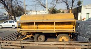 El tanque cisterna robado en Rawson en el año 2009.