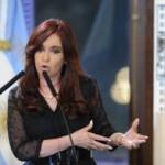 Cristina Fernández al hacer el anuncio.