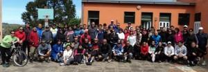 Los participantes de la nueva edición del Cicloturismo en la Escuela Nº 30 de San Patricio.