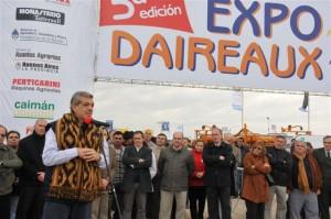 Domínguez en la inauguración de Expo Daireaux 2011.