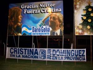 Pasacalles de Domínguez que están a la vera de la Ruta Nacional 7.