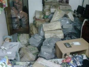 Parte de la droga incautada en San Martín.
