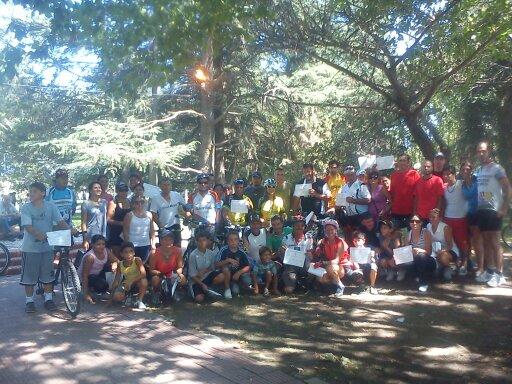 Los participantes de la bicicleteada por los 127 años de Rawson.