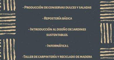 Placa de los cursos a dictarse en Rawson