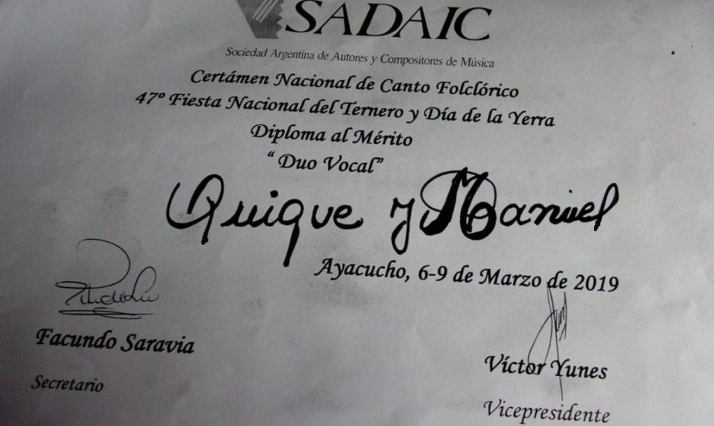 """Diploma al Mérito recibido por el dúo """"Los Salteños"""" en Ayacucho"""