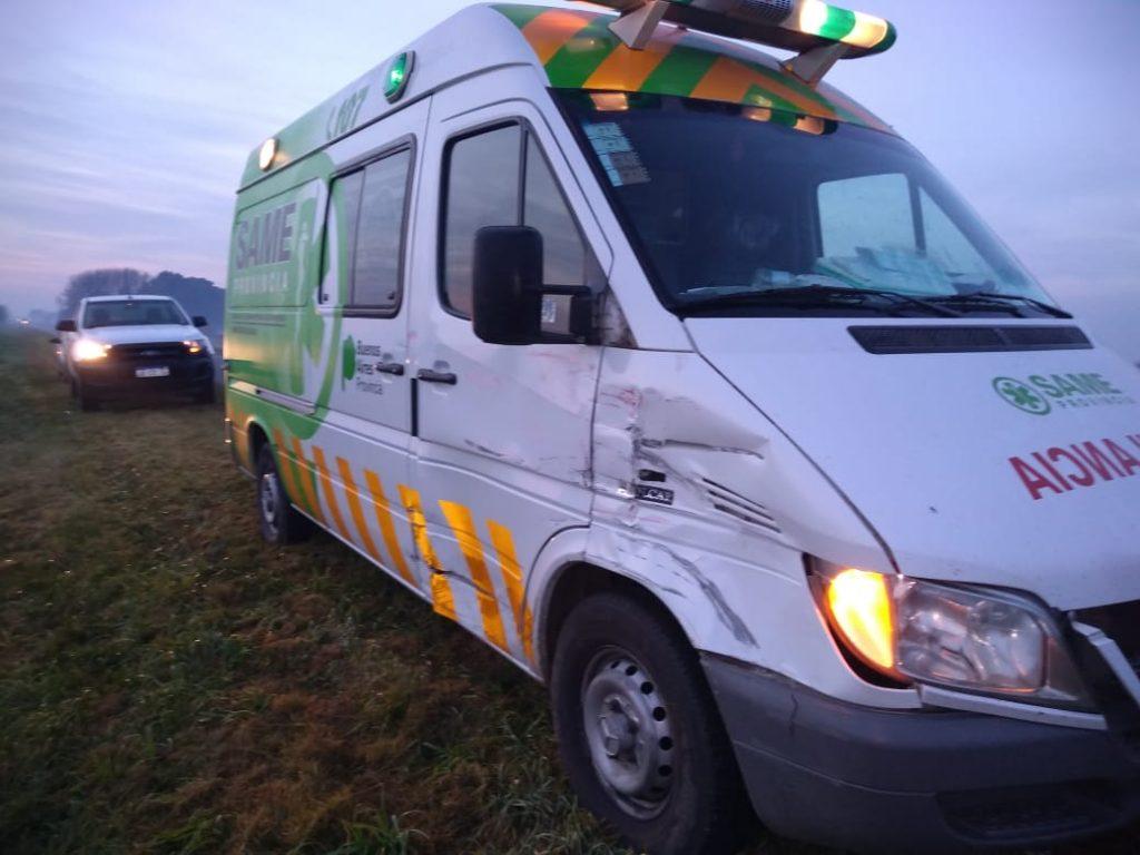 La ambulancia en el lugar del accidente