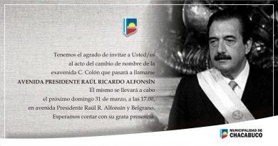 Alfonsín tendrá su avenida en Chacabuco