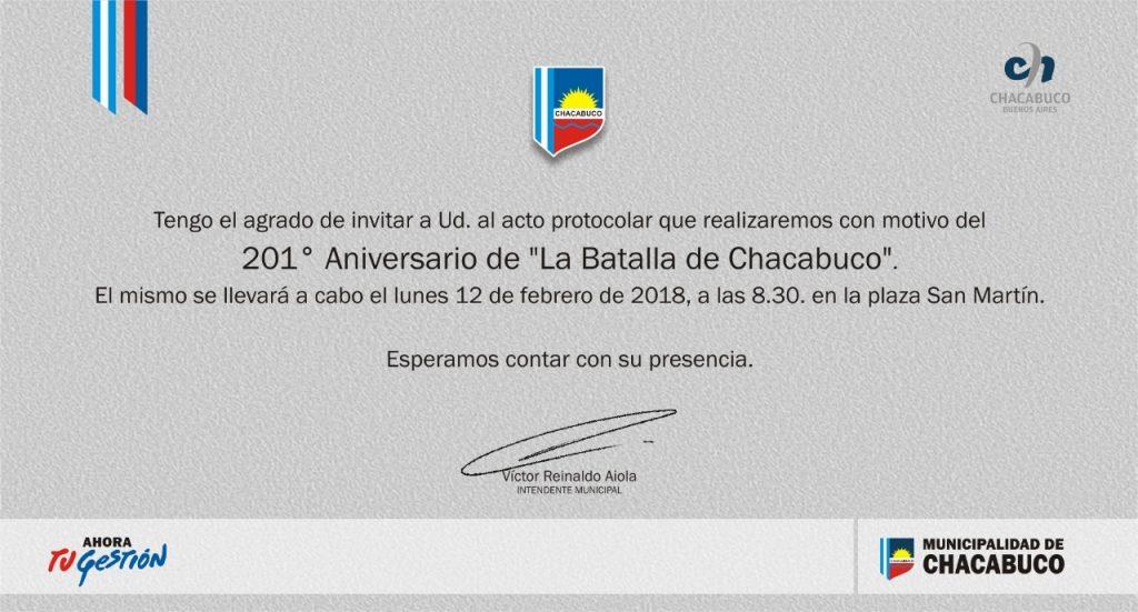 """10/2/18- El próximo lunes 12 de febrero, a las 8.30 horas, en plaza San Martín, se realizará el acto protocolar con motivo de conmemorarse el 201º Aniversario de """"La Batalla de Chacabuco"""". Estará presente, el intendente municipal, Dr. Víctor Aiola."""