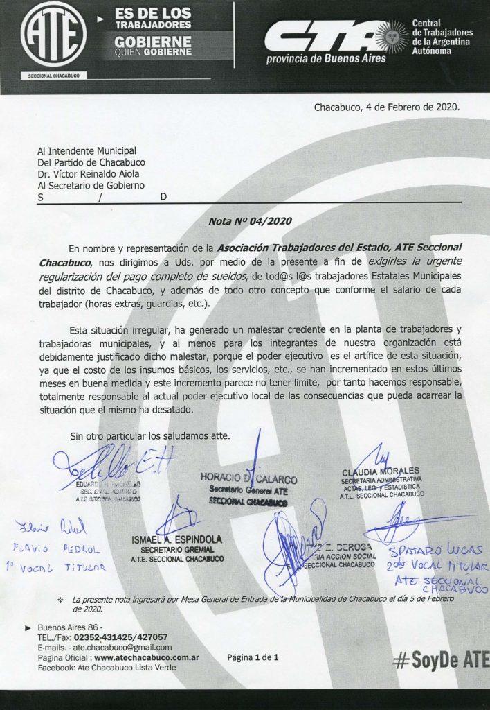 ATE pide a  Aiola la regularización total del pago de sueldos