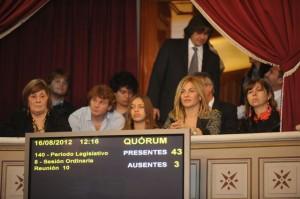 Nora de Lucía en el Senado Bonaerense. Foto gentileza: Luís Pozzi.