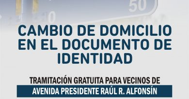 Avenida Alfonsín: tramitación gratuita de cambio de domicilio