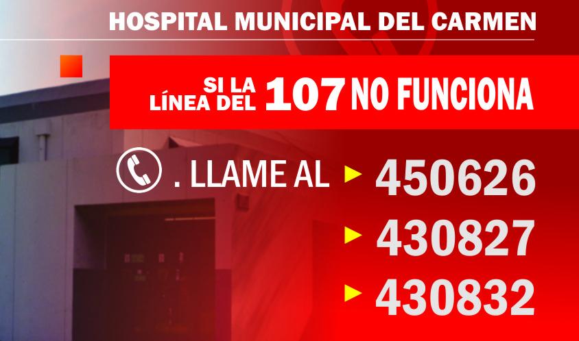 16/7/17- La Secretaría de Salud informa que el número telefónico de emergencias 107 para comunicarse al Hospital Municipal no está en servicio. El restos de los teléfonos del nosocomio (450626 / 430827 / 430799 / 430832) funcionan normalmente.