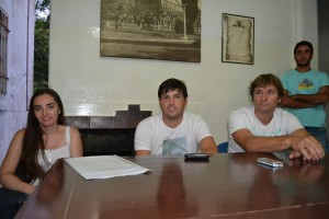 Pugliese, Verde y Millán, en una de las reuniones realizadas en Rawson, para formar en Centro de Estudiantes.