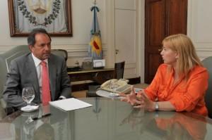Daniel Scioli junto a Cristina Álvarez Rodríguez.