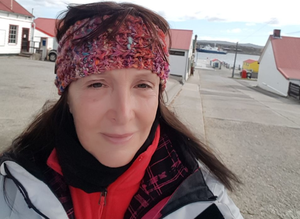 Teresa Grennon en su visita a Islas Malvinas