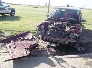 Estado en que quedó uno de los vehículos involucrados.