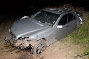 Estado en que quedó el Mercedes Benz conducido por un vecino de Roberts y que falleció.