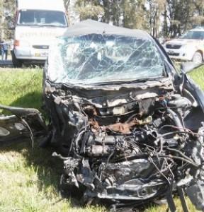 Estado en que quedó el auto guiado por Buzzo. Foto gentileza: Analía Ochoa.
