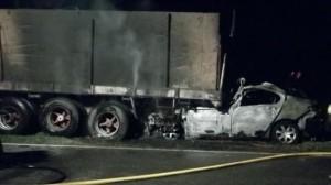 Imagen del accidente, dónde un conductor murió carbonizado.