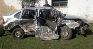 Estado en que quedó el auto en que viajaba la mujer de Chacabuco.