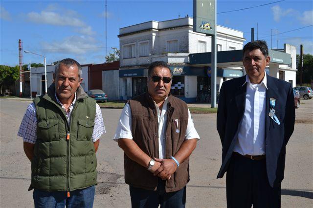 Los ex combatientes  de Malvinas Marcelo Cemento, Marcelo Aguirre y Pedro Correa.