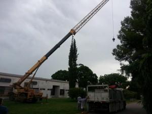 Tareas para instalar el aire acondicionado en el Hospital de Chacabuco.