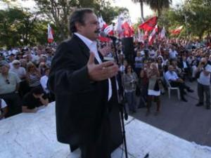 Ricardo Alfonsín en el homenaje a su padre.
