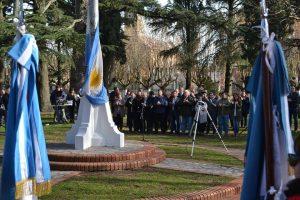 Imagen del acto realizado en Rawson por el Día de la Bandera