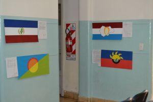 Las banderas finalistas fueron exhibidas en la Delegación Municipal.
