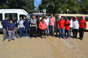 Barrientos esta mañana junto a concejales, Bomberos Voluntarios y Filial Cruz Roja Chacabuco.