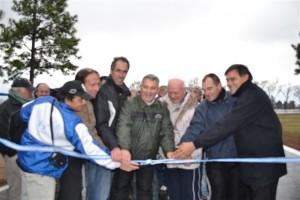 Barrientos en la inauguración de la pista de ciclismo.