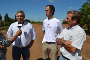 Barrientos en la obra de la pista de ciclismo en Chacabuco.