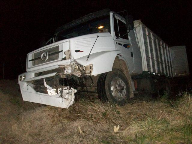 Estado en que quedó el camión guiado por Mosquera con domicilio en Alberti.