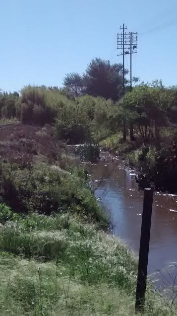 Canal que corre paralelo a vías del ferrocarril, lugar por donde circula el agua de la localidad. El autor de la foto dice que se hicieron los trabajos de limpieza hasta ese lugar y de ahí en adelante el agua no corre.