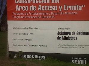 Pedido de Informe sobre obra del arco y la ermita en la entrada del acceso Hipólito Yrigoyen de Chacabuco.