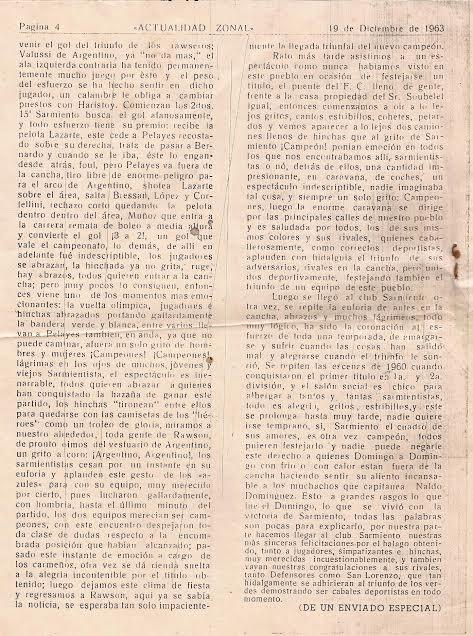 """El desarrollo de Sarmiento campeón en  """"Actualidad Zonal""""  del año 1963."""